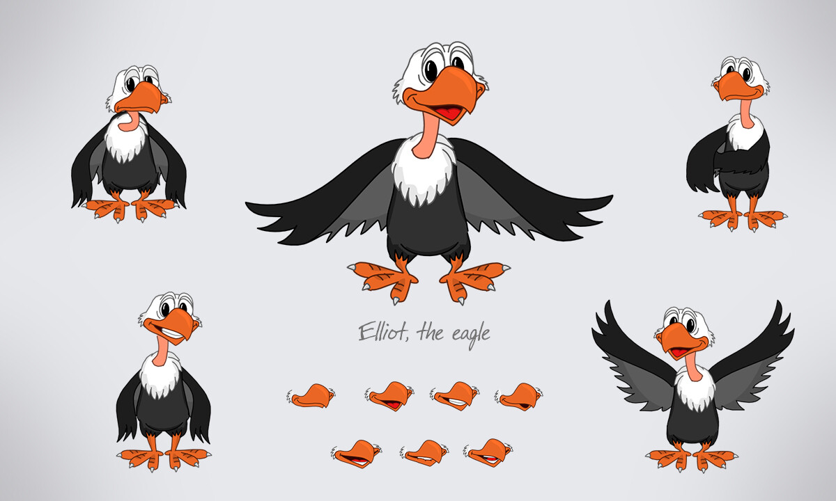 Eliot the Eagle, character design for educational games