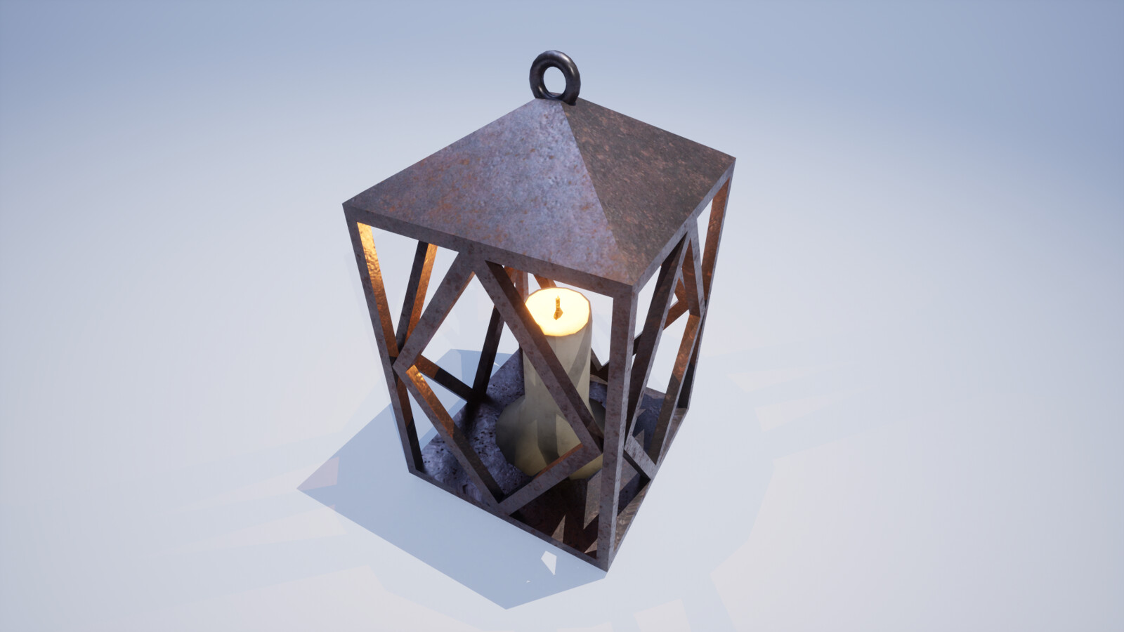 Old fashioned lantern with a lit candle placed in the center