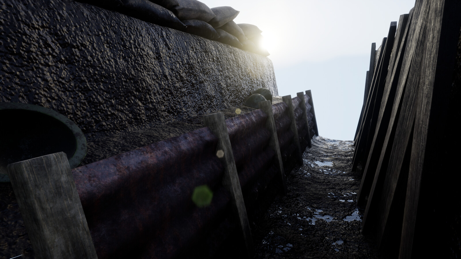 Inside the trench with rusted steel panels and leftover army helmets