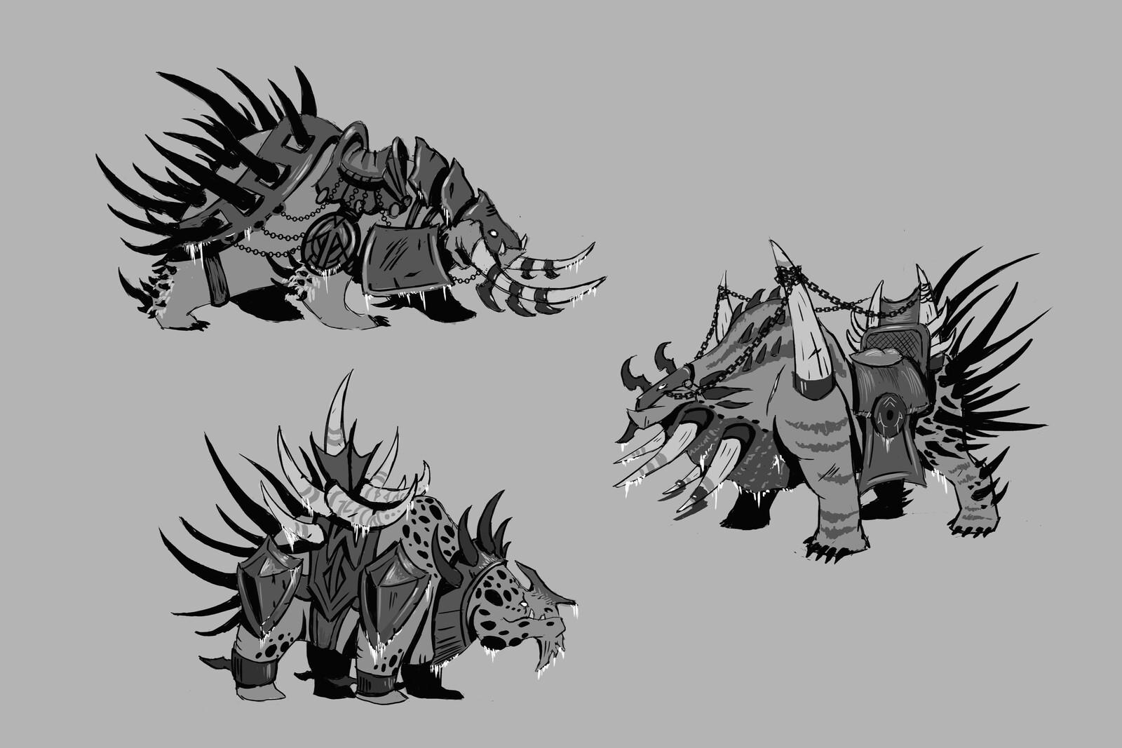 Dragon Bear Mount Sketches
