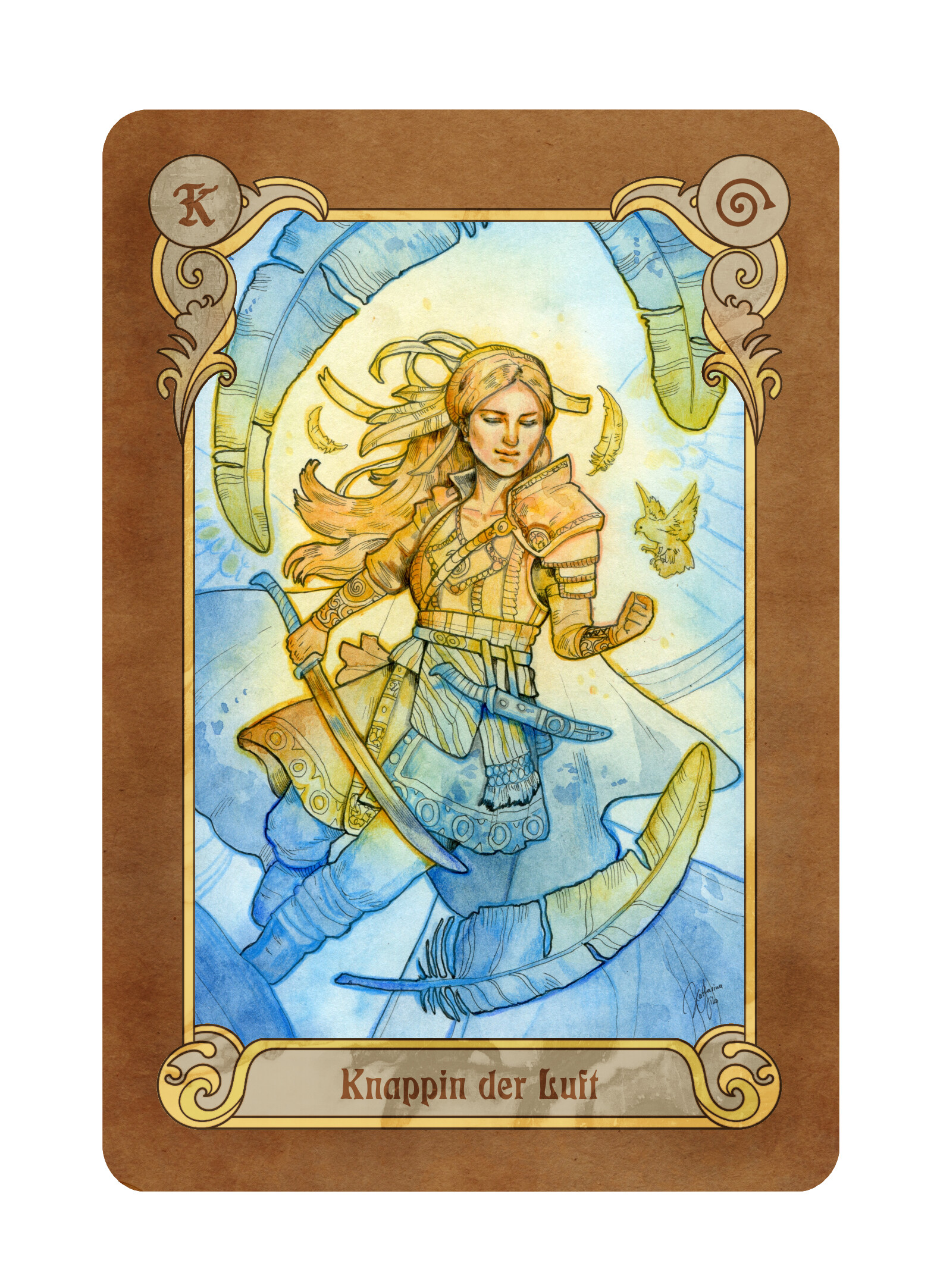 """The card """"Squire of Air"""" (""""Knappin der Luft"""" in German)"""