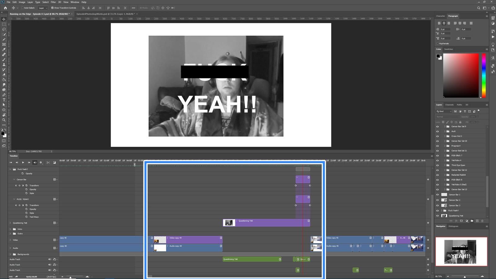 """The """"Yeti Goes On"""" visual effect within Photoshop video editor"""