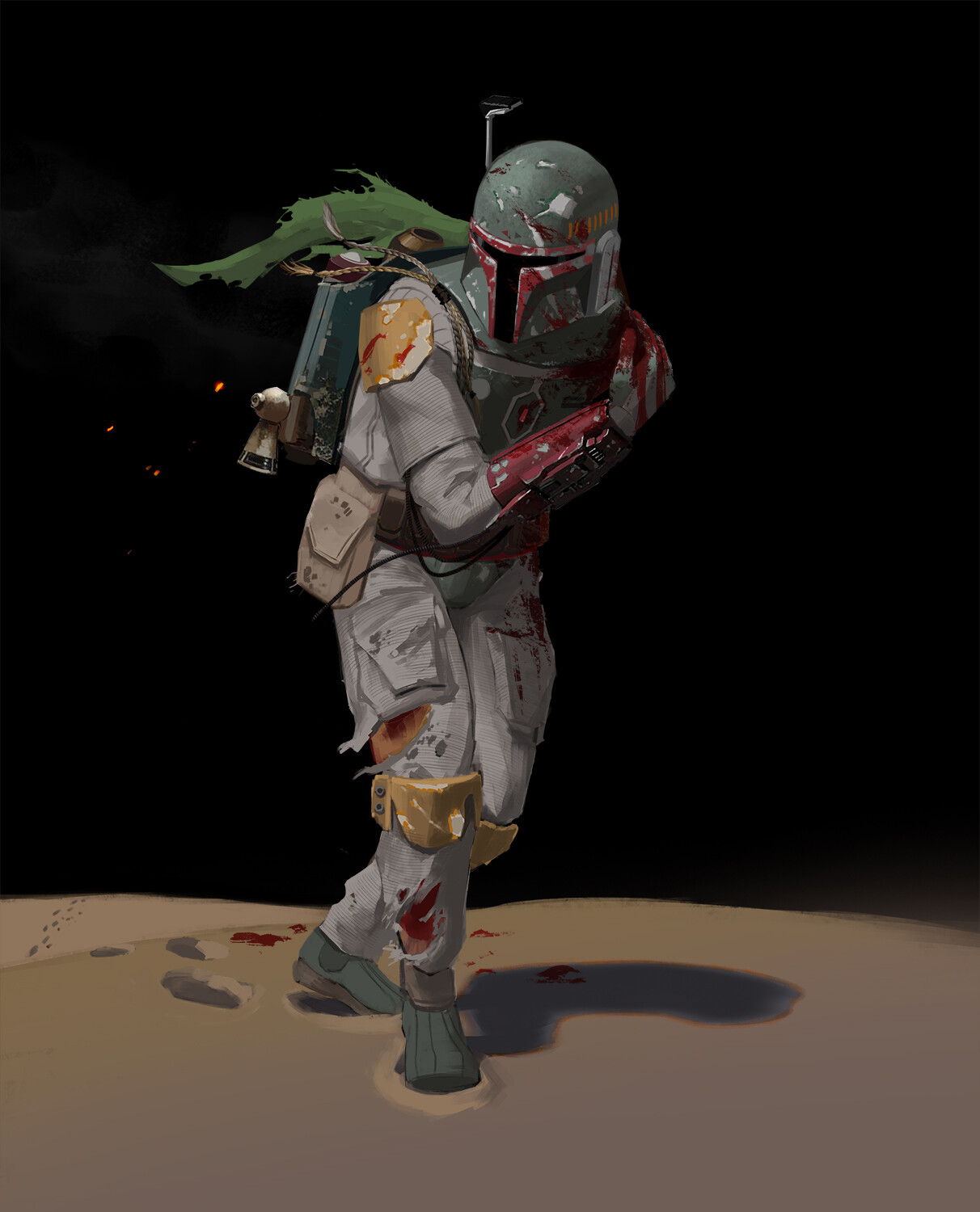 Part 1 - Boba Fett barely escapes the Sarlacc, expending his rocket and losing his left arm.  The Sarlacc was displeased with Boba's attempt to use his flamethrower while inside it.