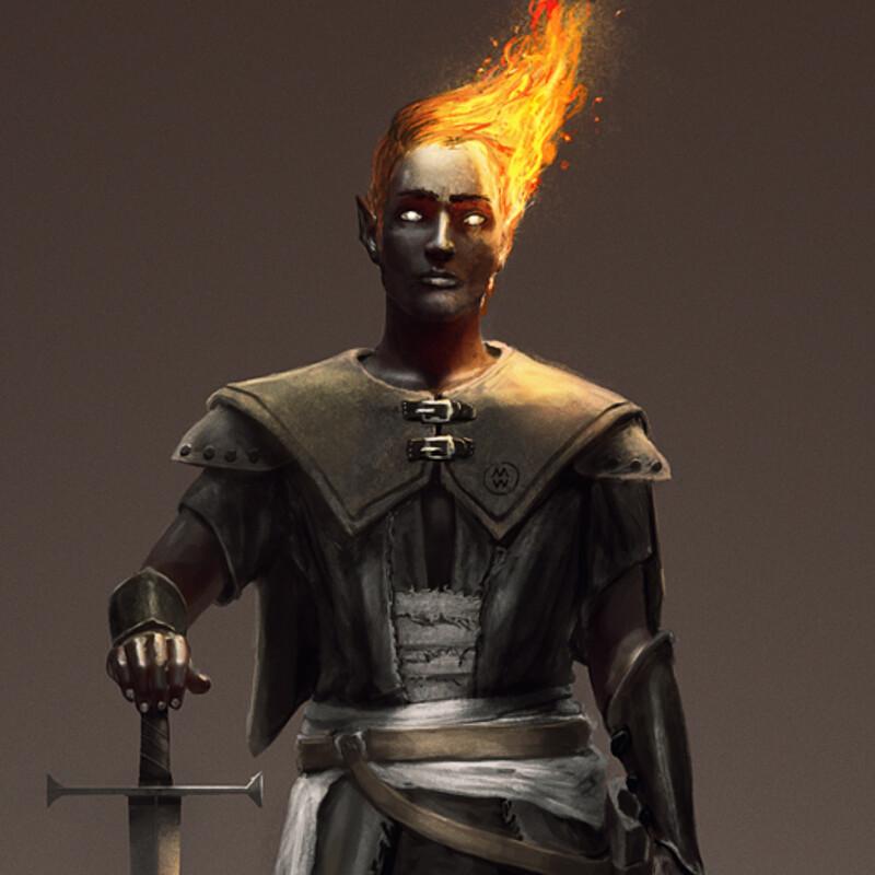 Hellfire, the Fire Genasi Warlock.