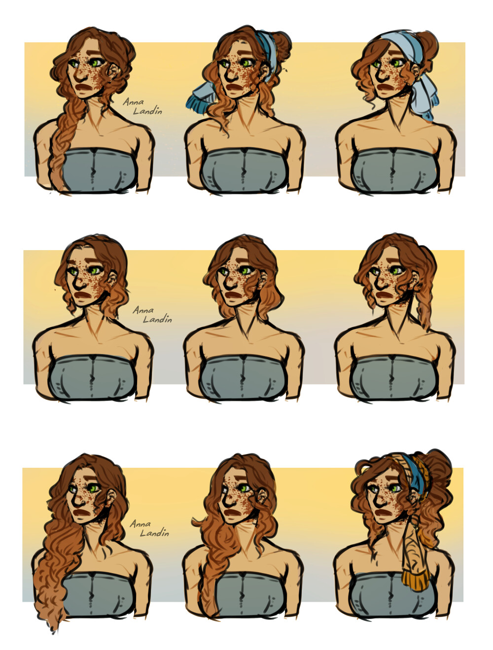 hairstyle sketches - Aster
