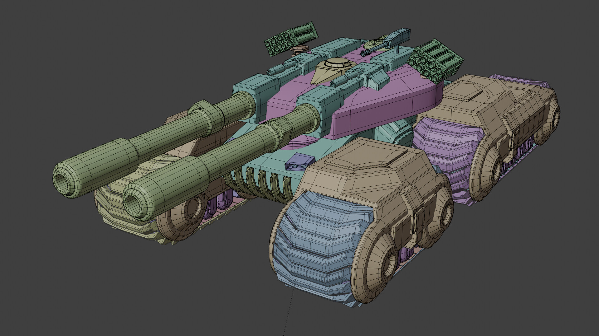 Much of the tank is made of individual parts with intersecting geometry.