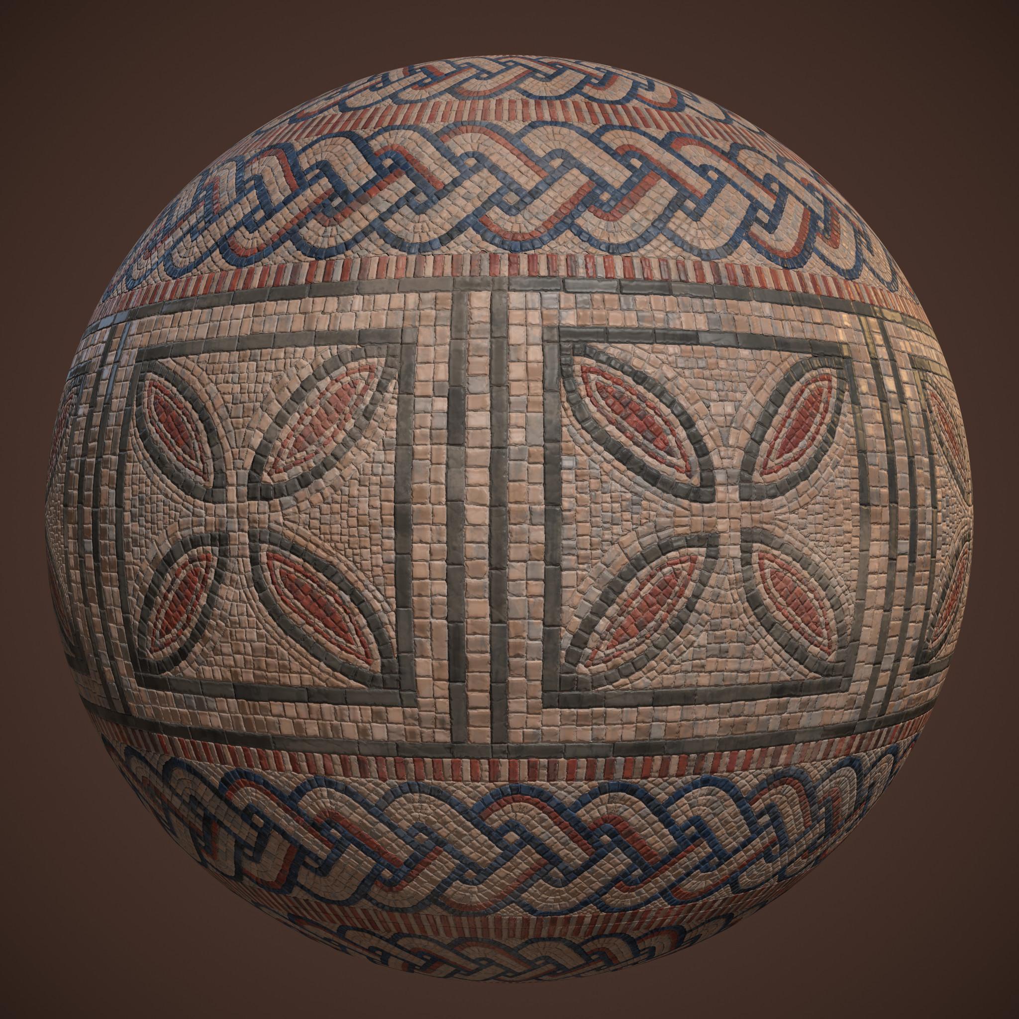 Mosaic floor sphere render