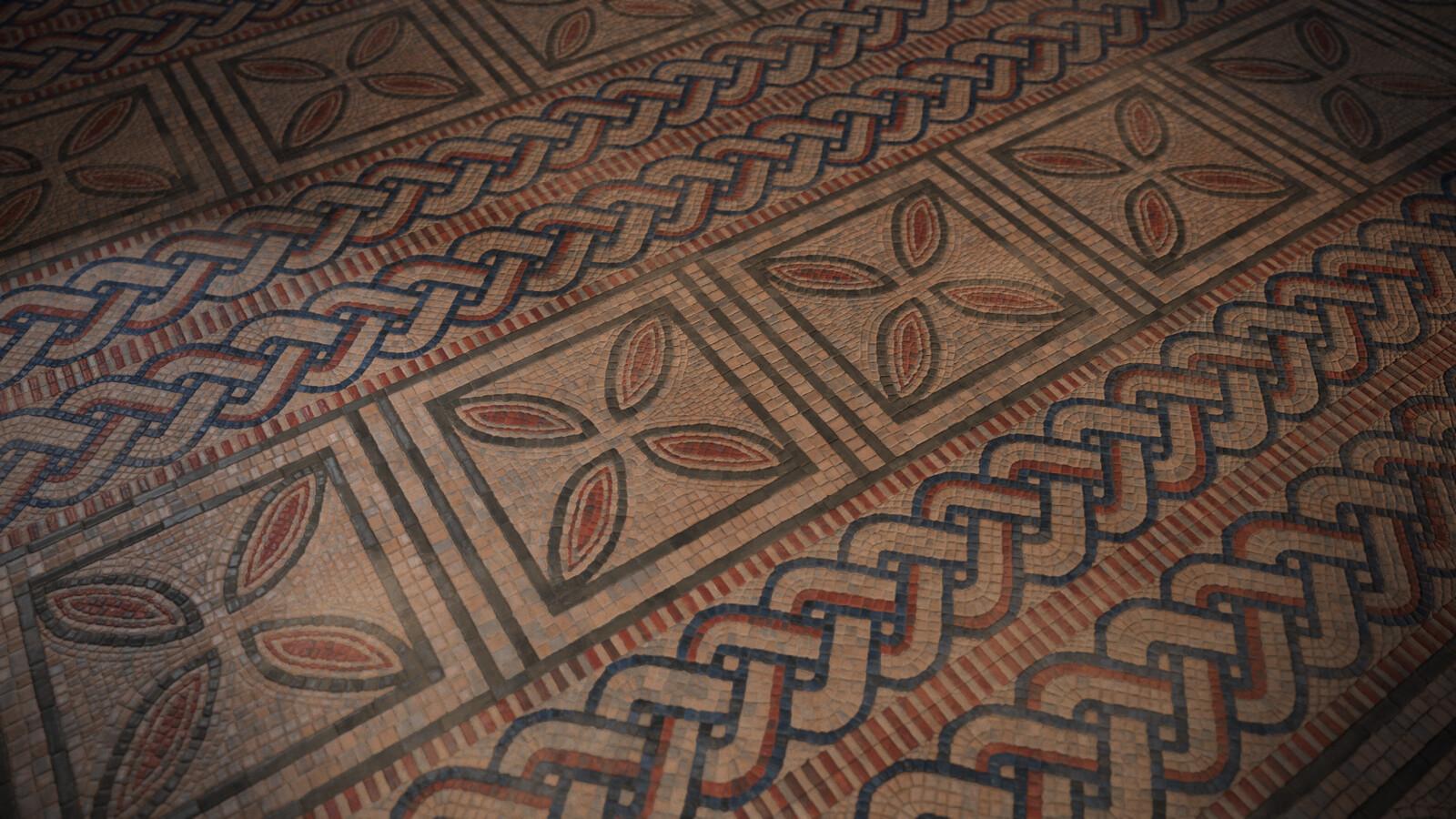 Mosaic floor plane render