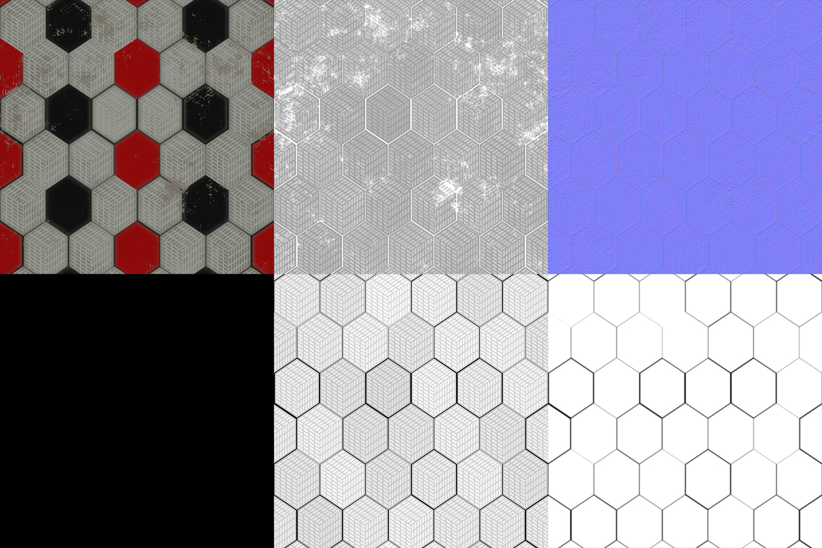 Albedo, Roughness, Normal, Metalness, Height, and Ambient Occlusion maps