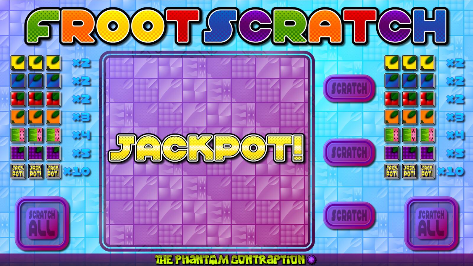 Froot Scratch Landscape Screenshot: Jackpot
