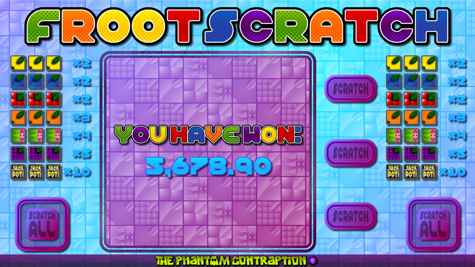 Froot Scratch Landscape Screenshot: You Have Won