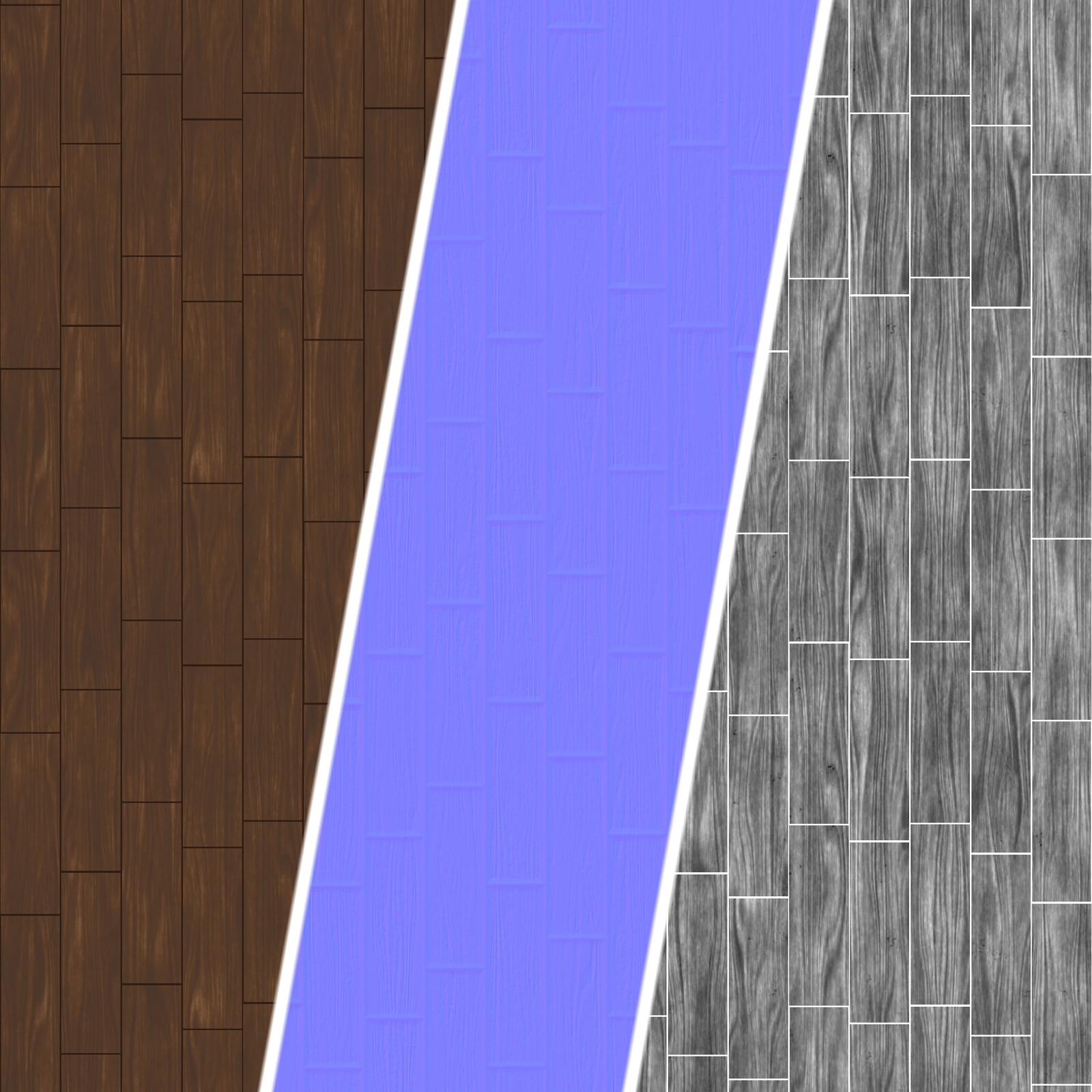 Smooth Wood Board texture maps breakdown