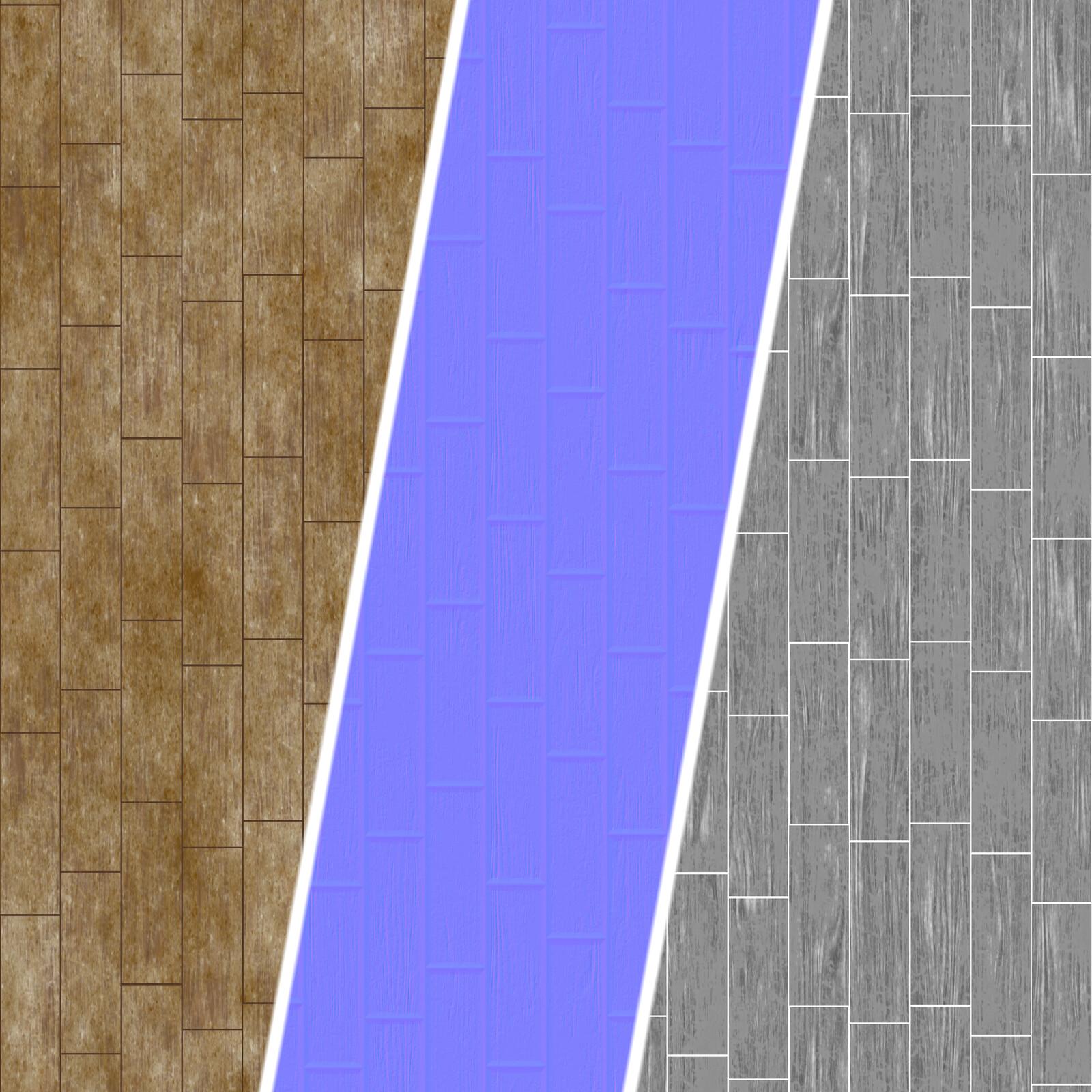 Worn Wood Board texture maps breakdown