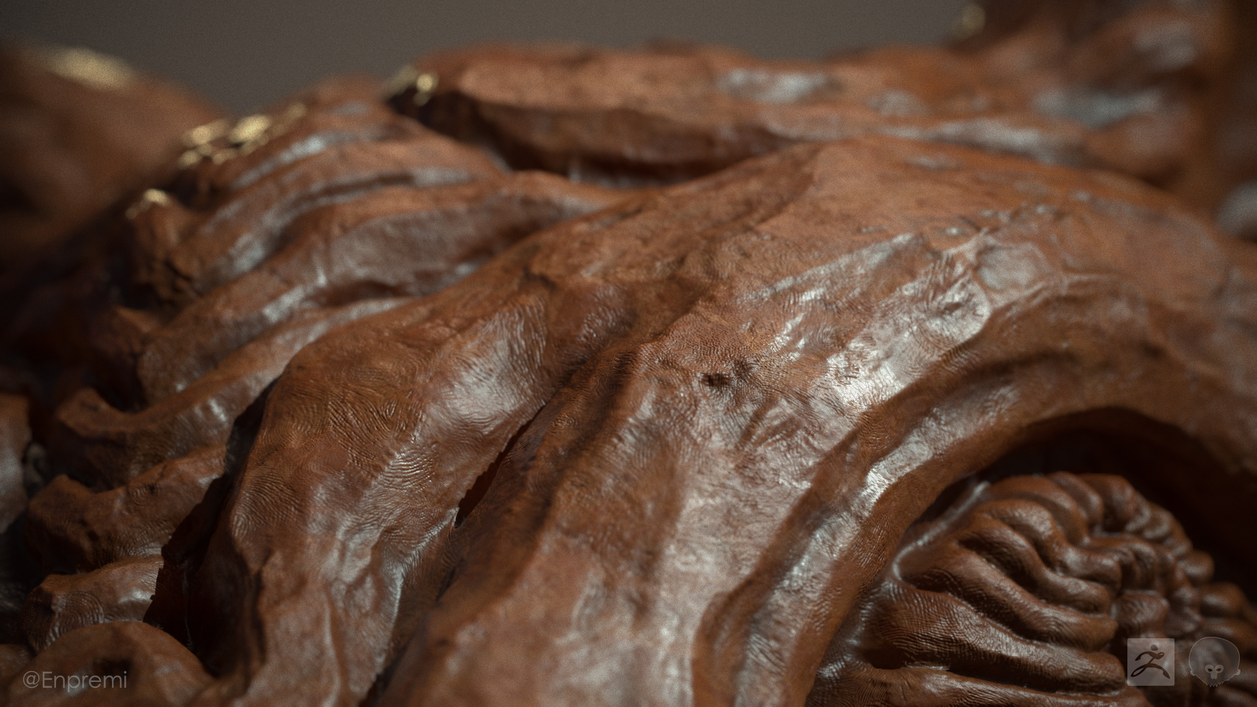 Main material is clay with some small bumps in normals and roughness variation. Detail normal has fine fingerprint patterns.