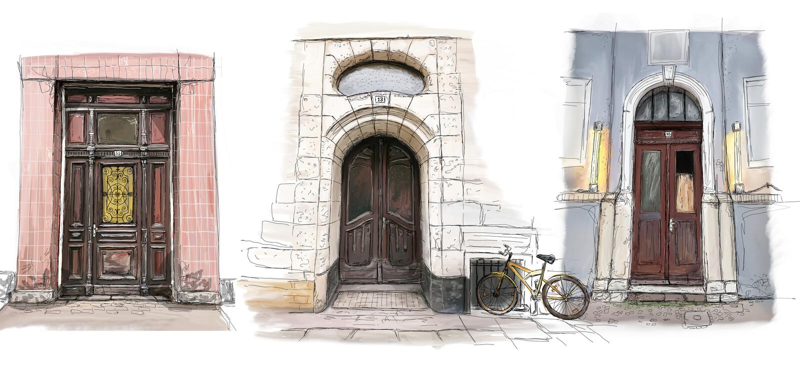 3 Brown Doors, color concepts