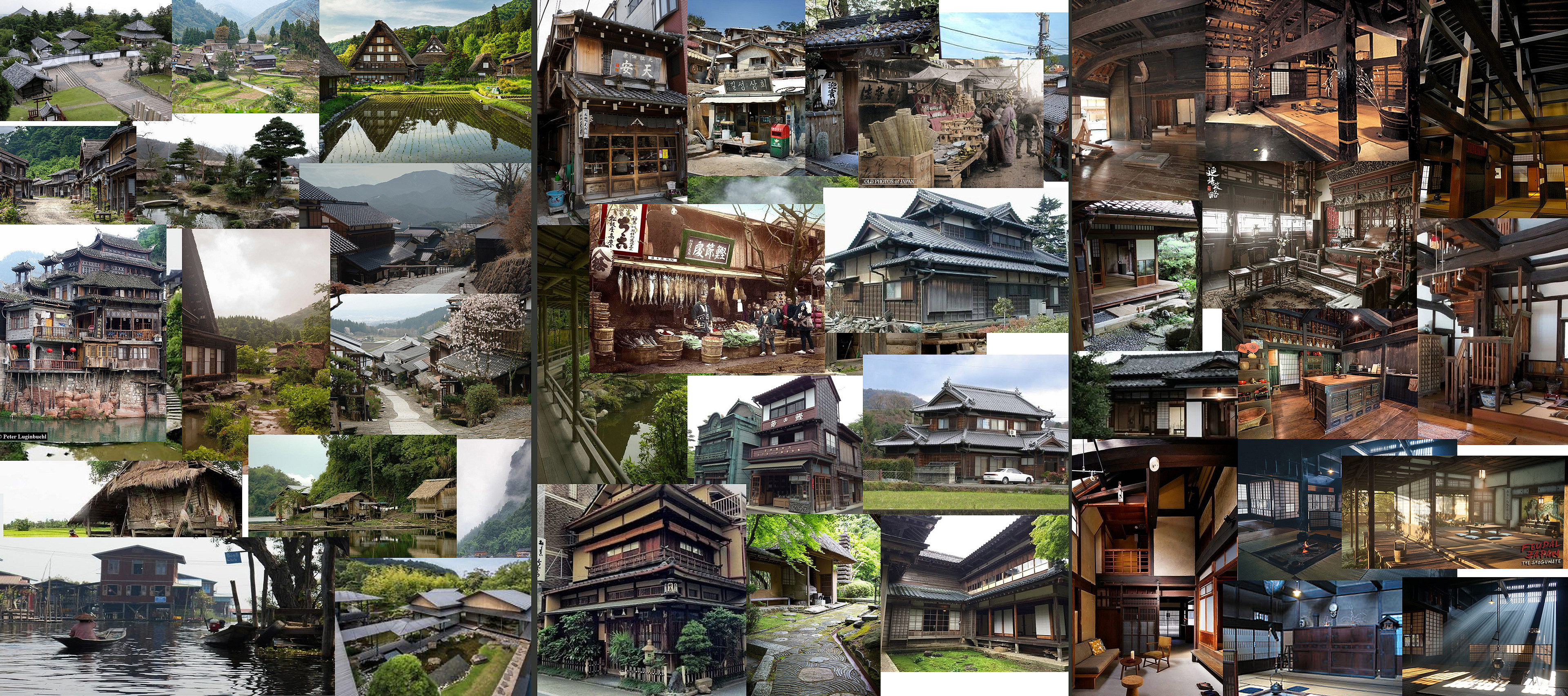 reference used, grouped into large scale village stuff, close ups of structures and interiors