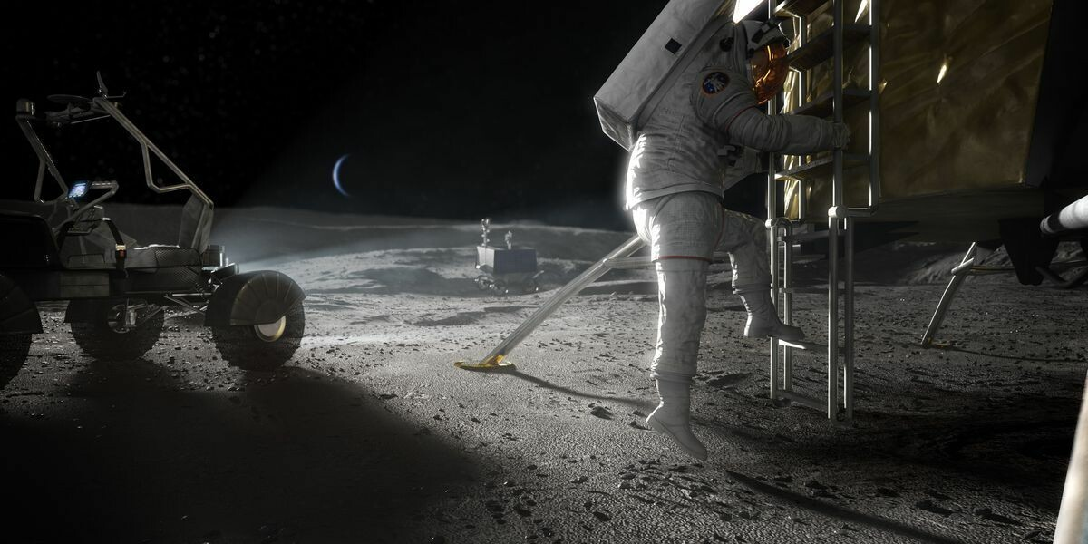 Concept image of an Astronaut's first step on the moon
