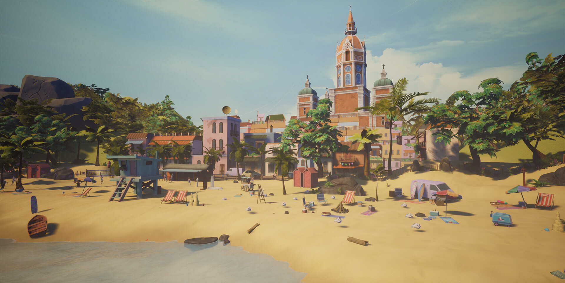 The beach environment features a background of the city to avoid making the levels feel like they were unconnected. In the original blockout by myself and Mike Relleva both the beach and urban levels were together in 1 environment