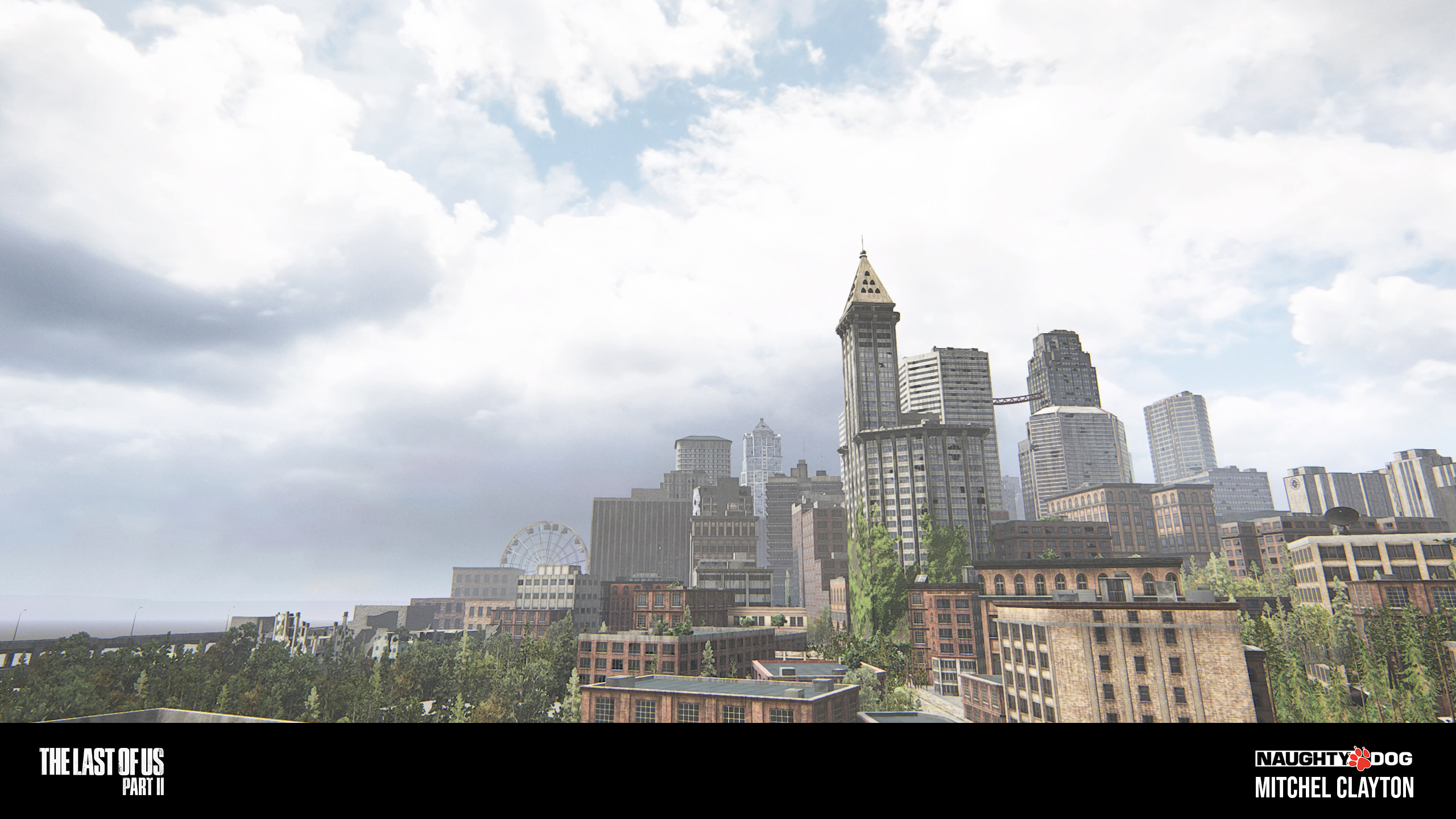 """Close up shot of the Seattle Skyline created for the """"Forward Base on Foot""""."""