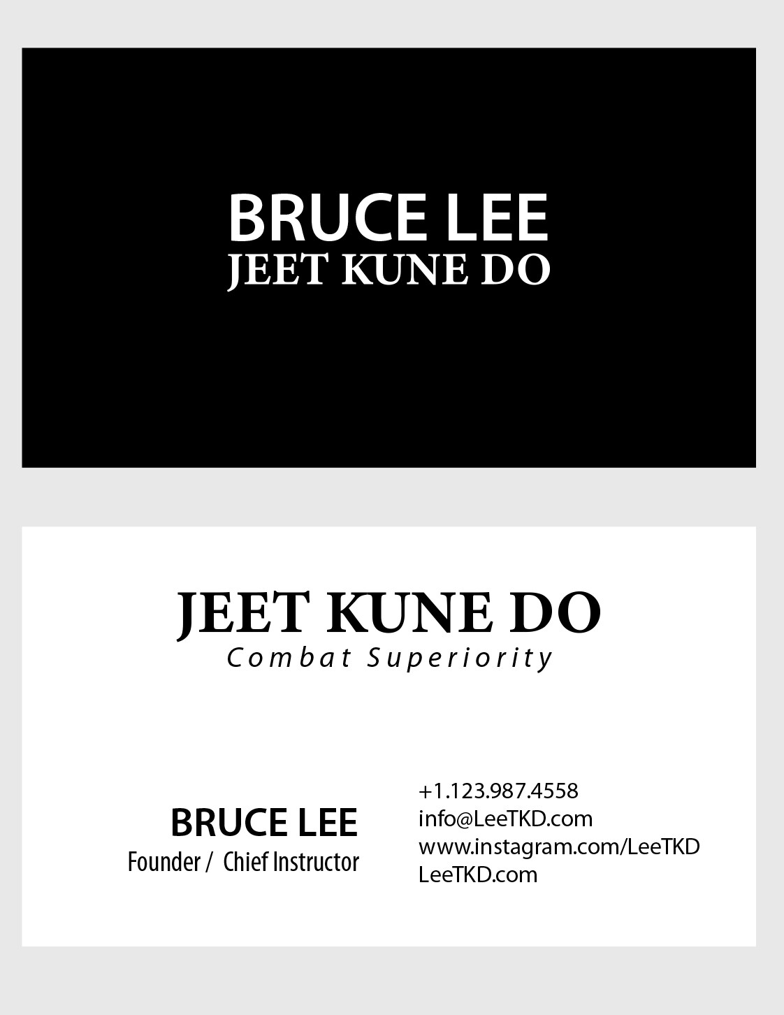 Business Card Layout.  Class project