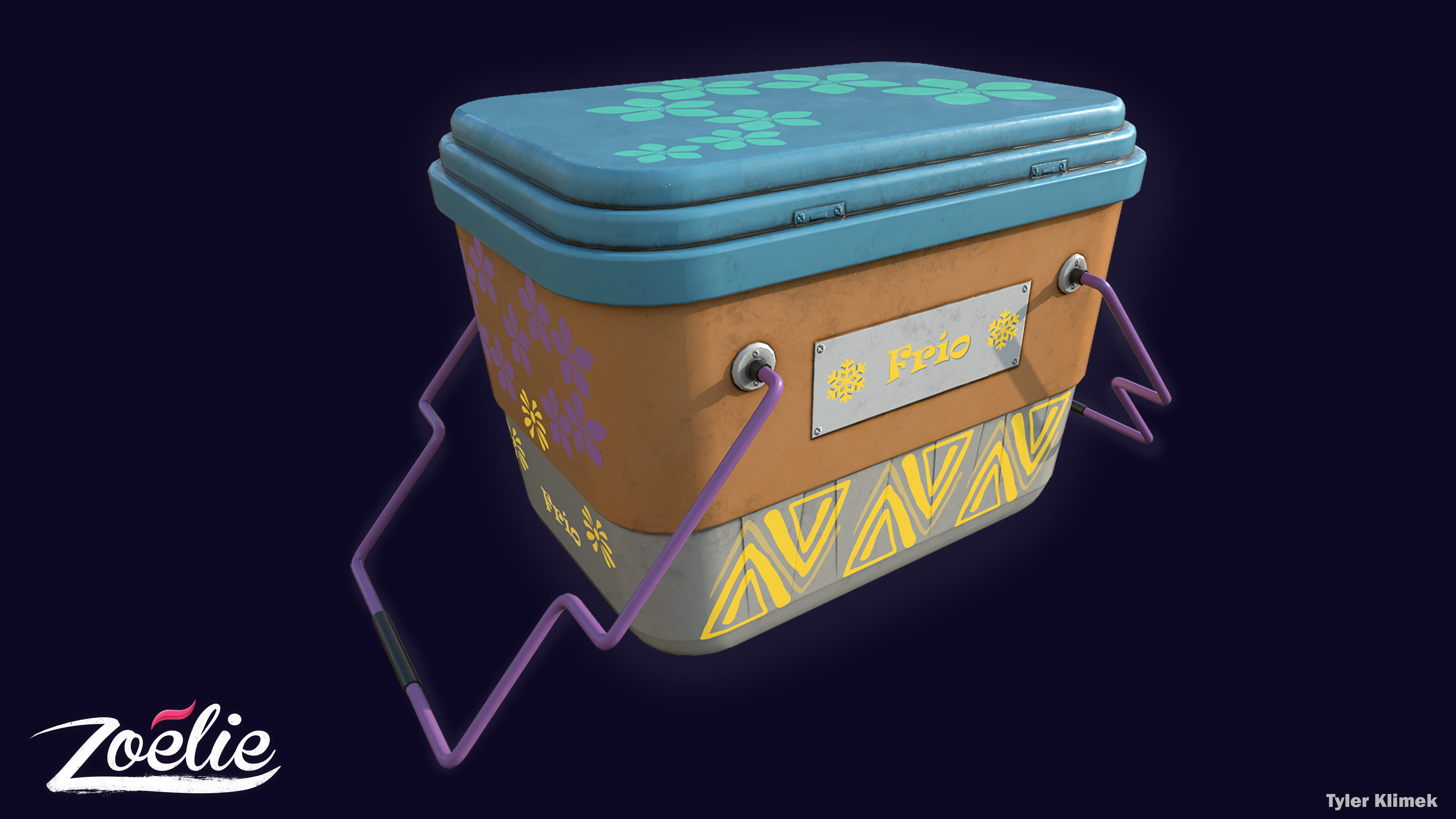 "I made a number of cooler designers and variations for the project. Above is one of the flipped ""Fantasy"" texture varients for one of the coolers"
