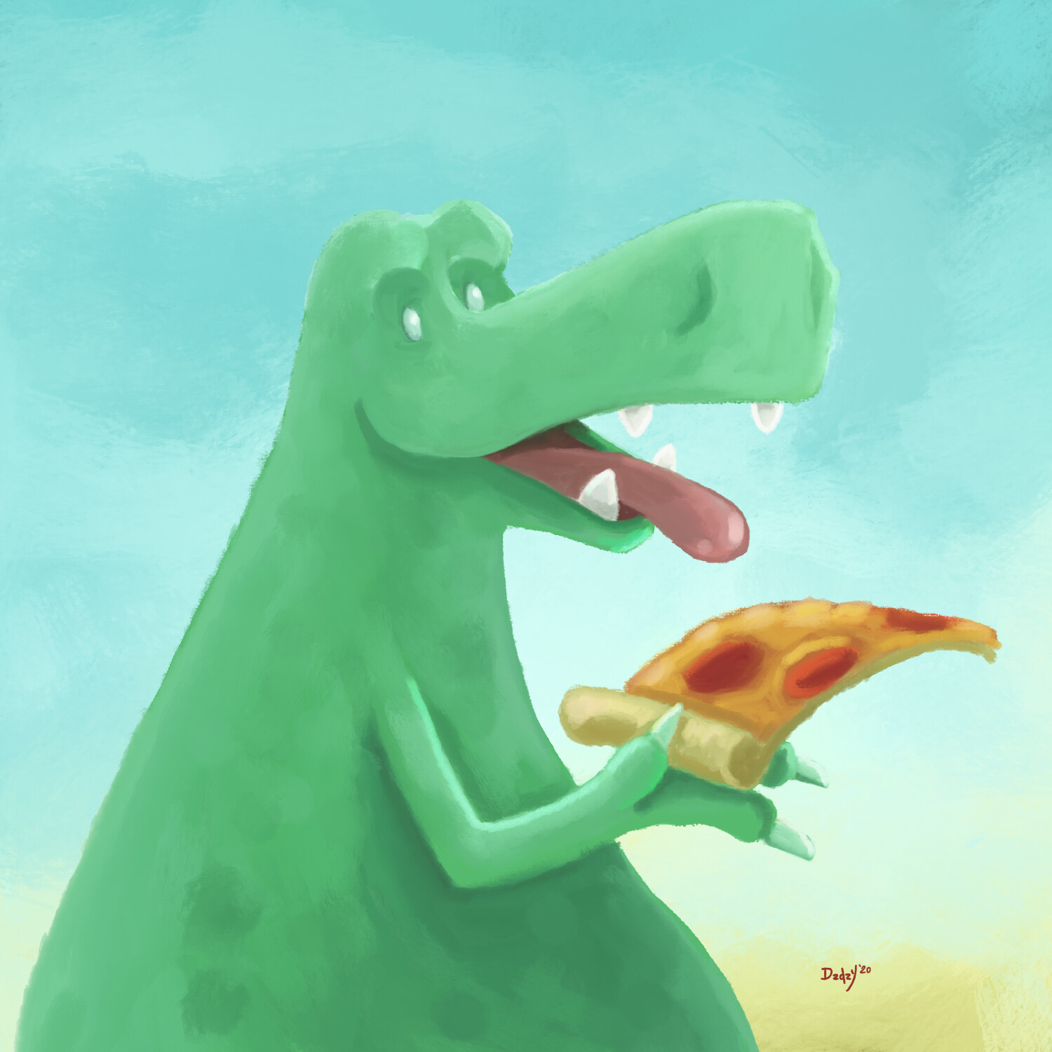 Dino's favorite thing is pizza!