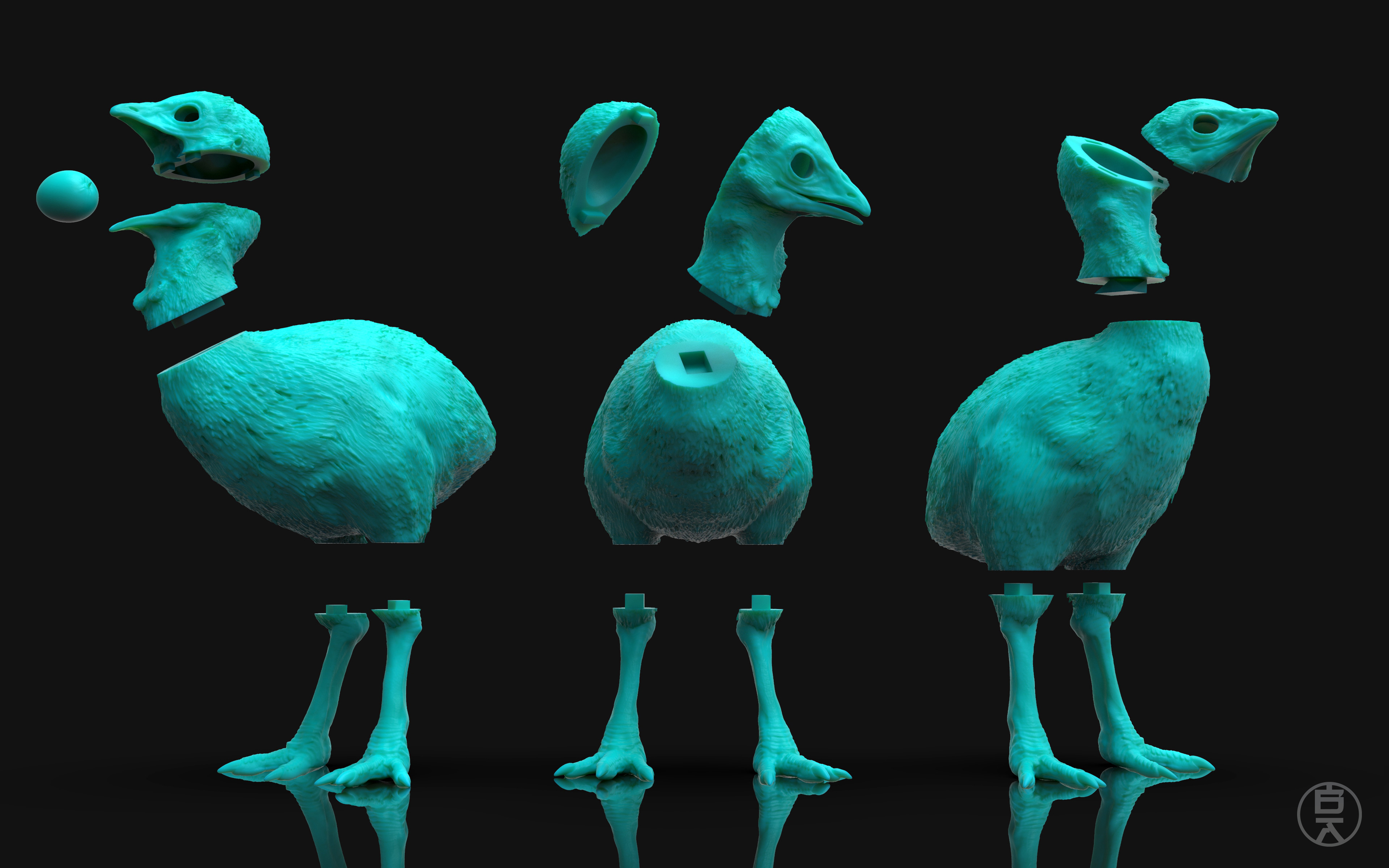 3D Printed Sections & breakdown of parts for the cassowary chicks. Printed on the Formlabs Form 2