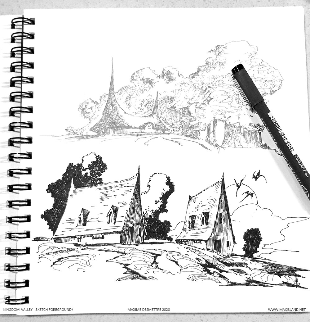 Foreground part of the sketch Pen on paper
