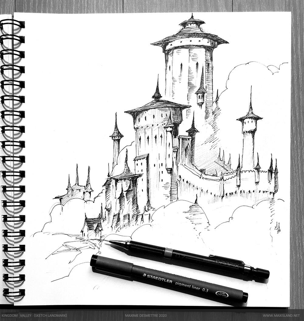 Landmark sketch for the background Pen on paper