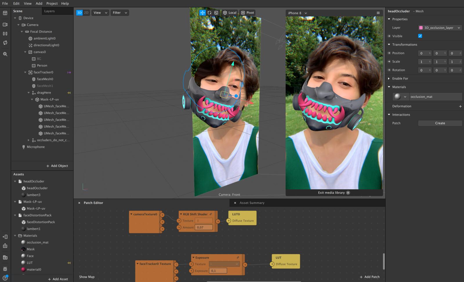 AR mask for instagram in Spark.