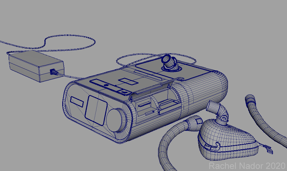 Wireframe of the CPAP and some of the parts, about 50,000 tris.