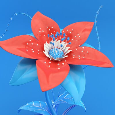 Blue and Red Flower animation