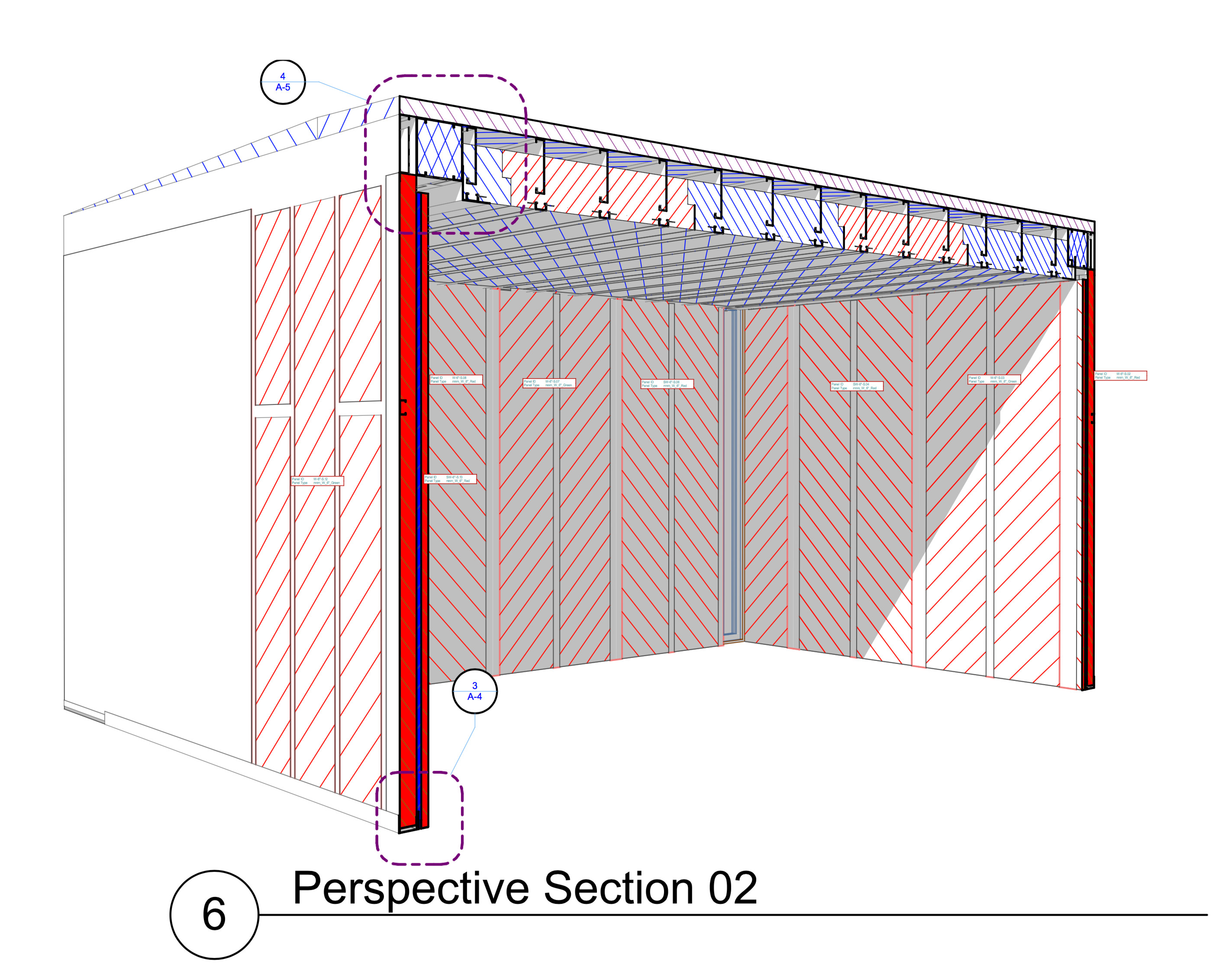 Perspective Section of shed overall, with wall-section level detail in cut elements, and a detail callout for the wall-ceiling assembly connection.