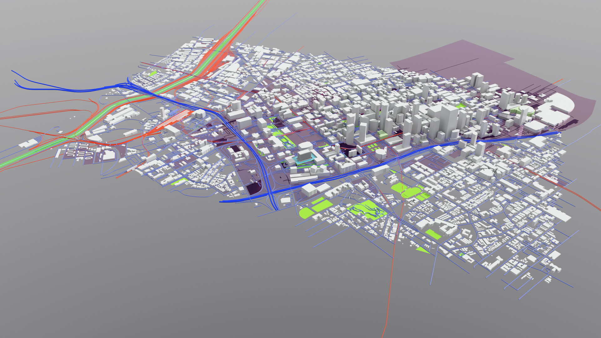 This is a perspective view of a GIS Specialist or Urban Planner's understanding of downtown Los Angeles