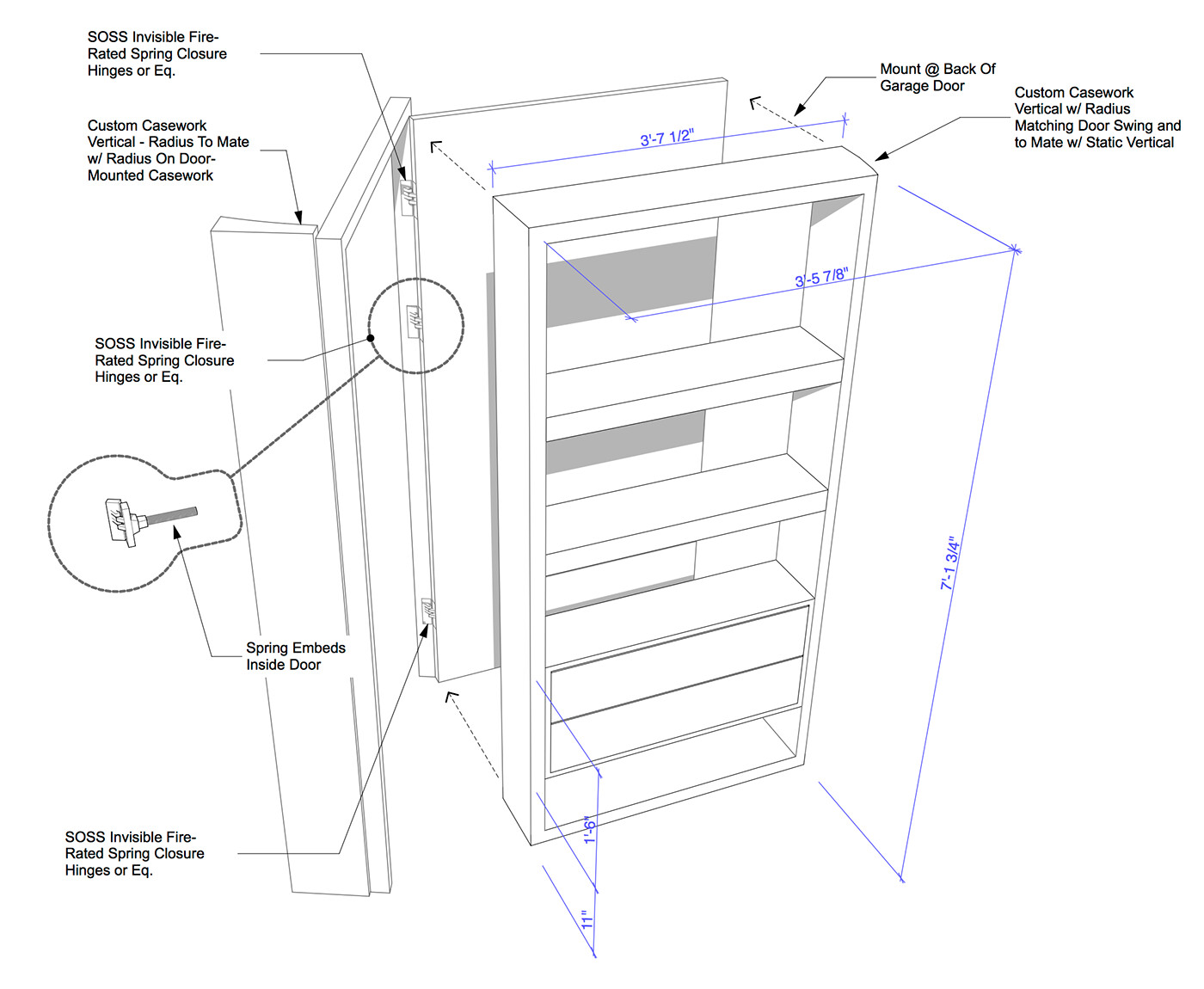 Perspective detailing of an unusual door and shelf system.