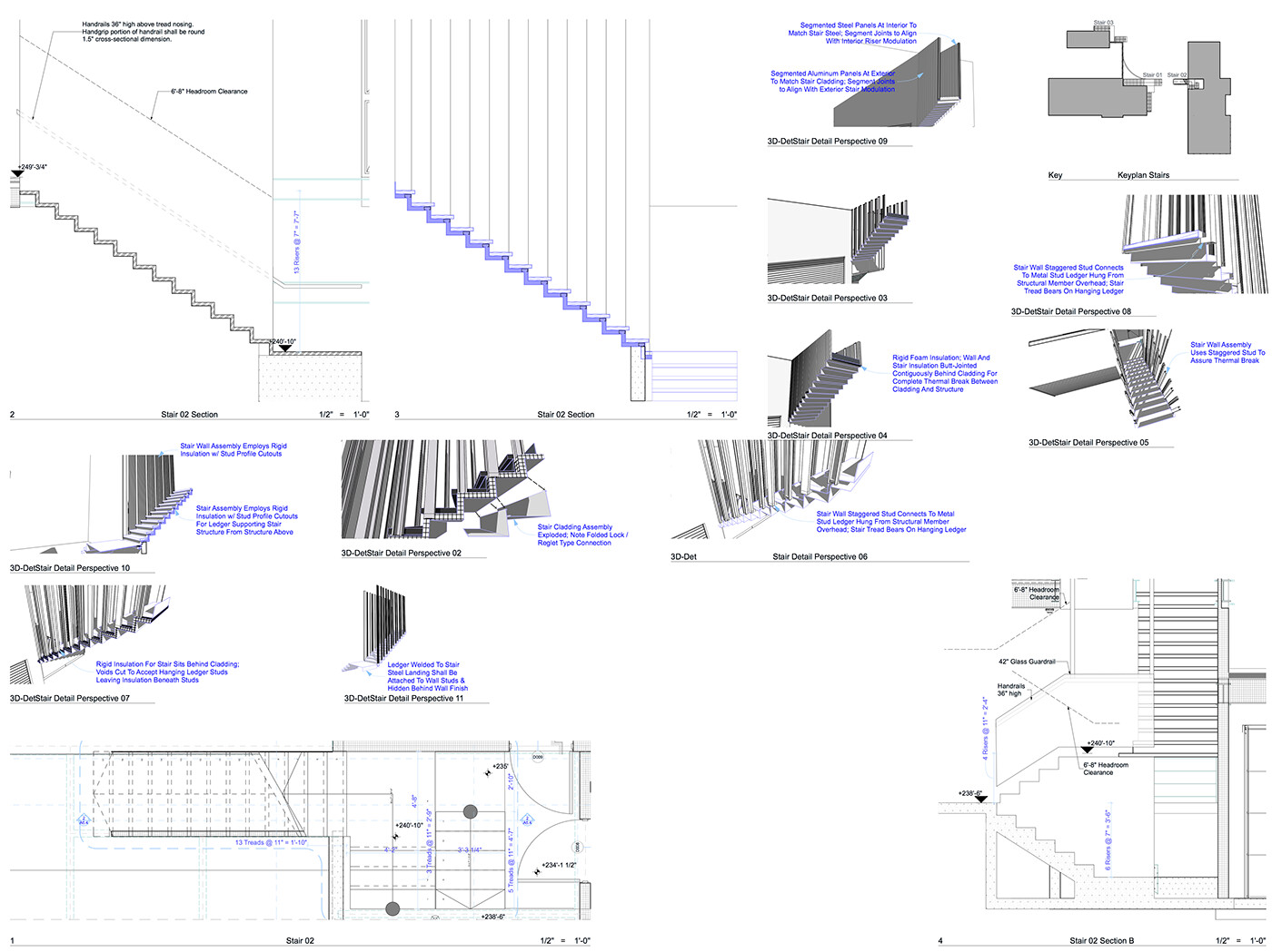Here we see perspectives, perspective sections, 2D sections and plans all in one sheet: this should decrease any chances of error or misunderstanding.