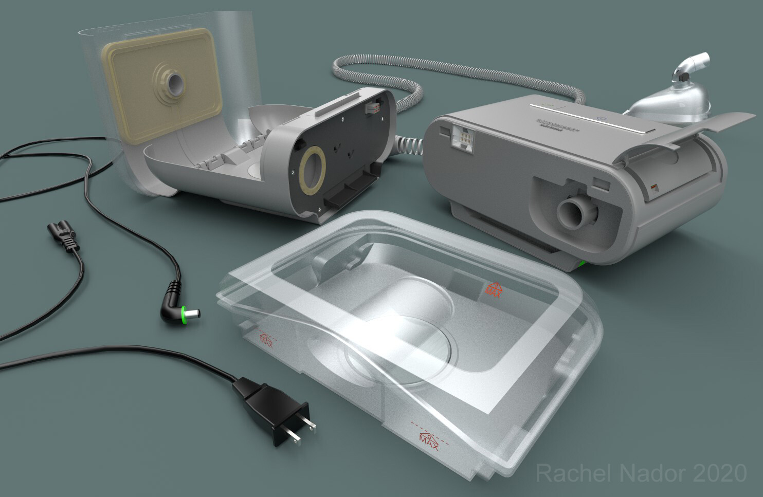 The CPAP machine, humidifier, water tank, and other components.