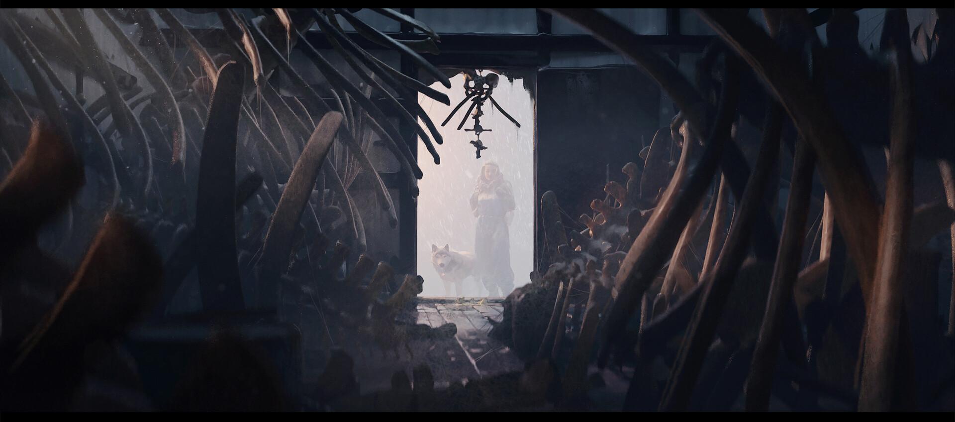 Yelena peers inside. The house is crammed with bones, bones, bones.