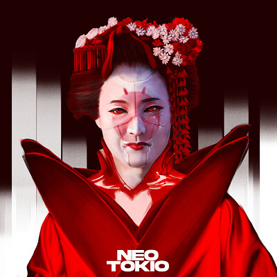 Poveda digital art geisha