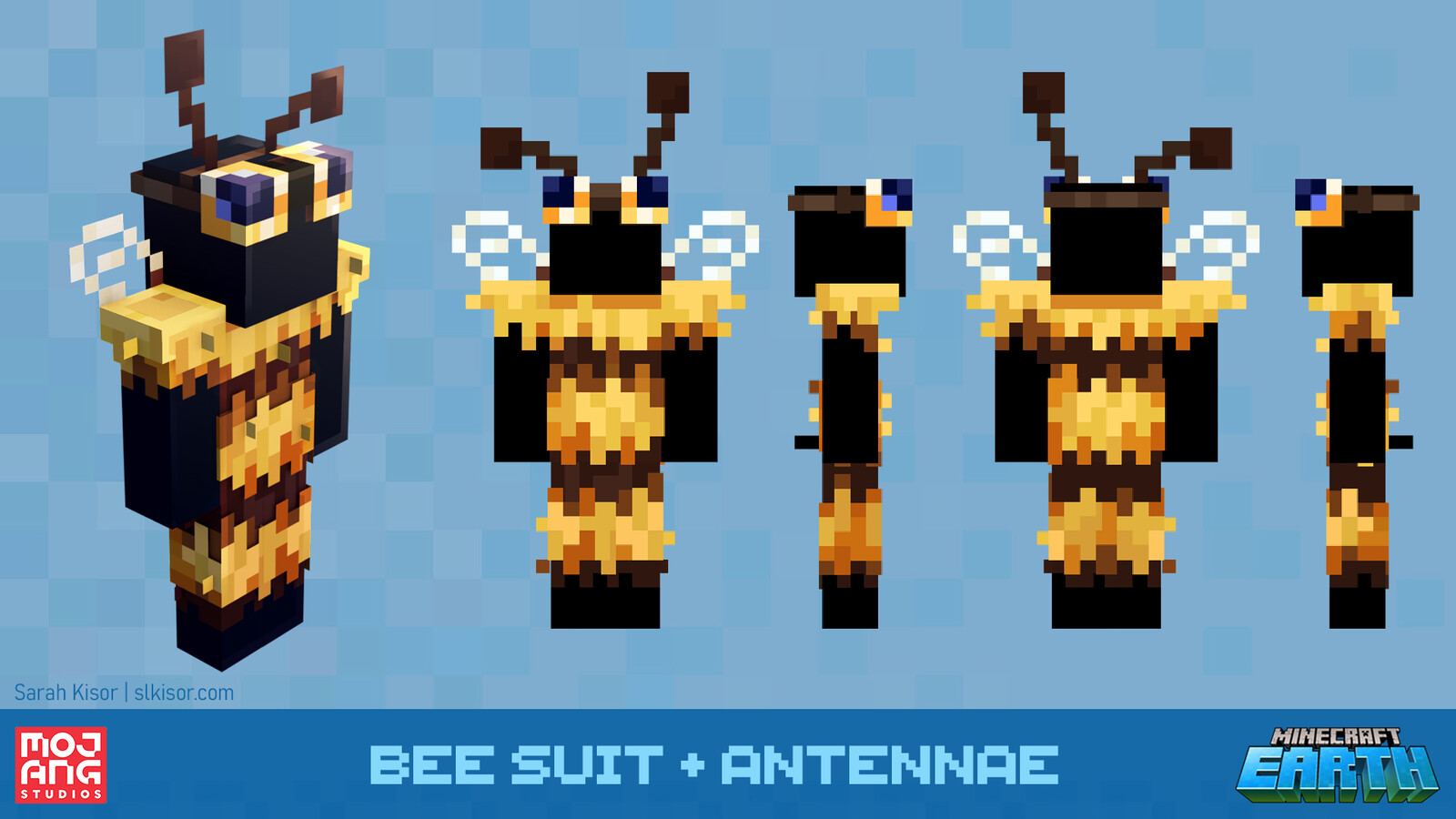 Bee suit and antennae headpiece made for the launch of the bee update in Minecraft. All proceeds from the purchases of the Bee costume went to WWF during the sale. https://www.minecraft.net/en-us/updates/buzzy-bees/