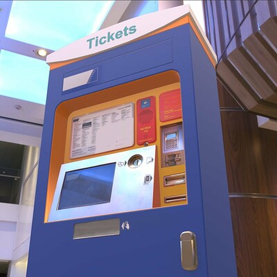 Dennis haupt mid poly ticket machine modeled and textured by 3dhaupt in blender3d 3