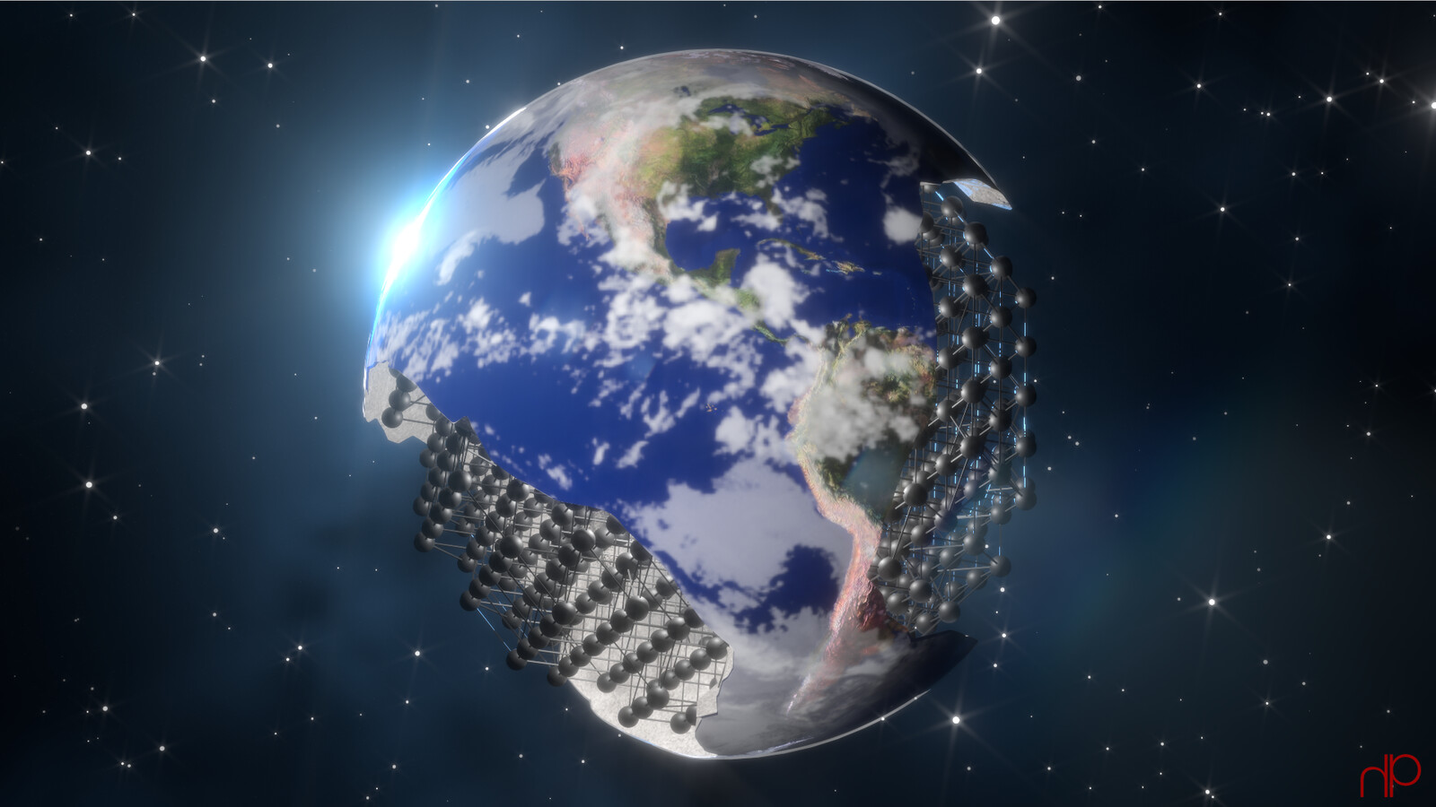Day 1: Earth.  Boolean operations on Earth mesh geo. Point lattice and stars using instantiation. Space gas via volumes.