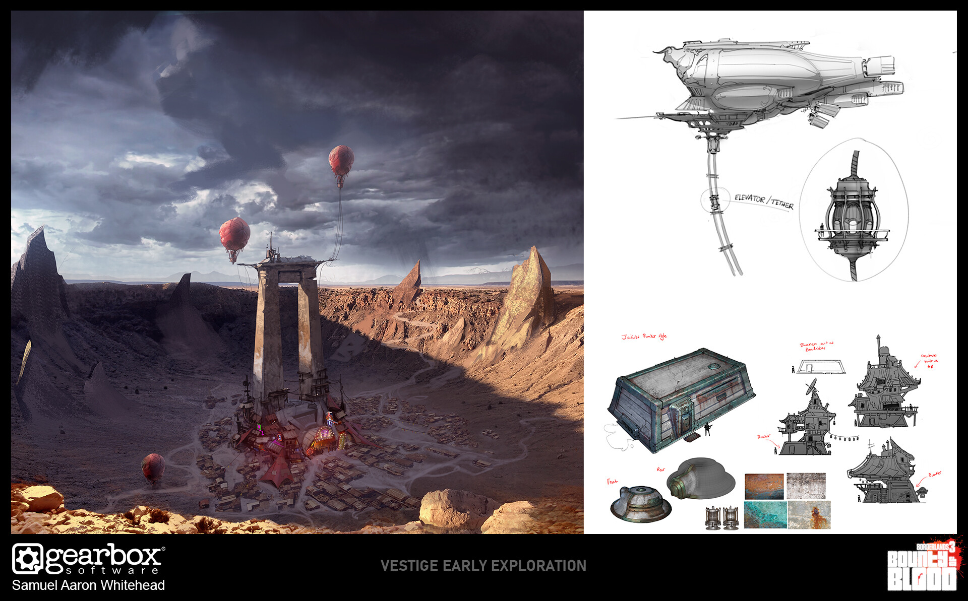 Exploration for the town of Vestige circled around the idea that the town was used as an observation point for high yield bomb tests during the companies reign - thus early exploration involved buildings augmented from existing company bunkers.