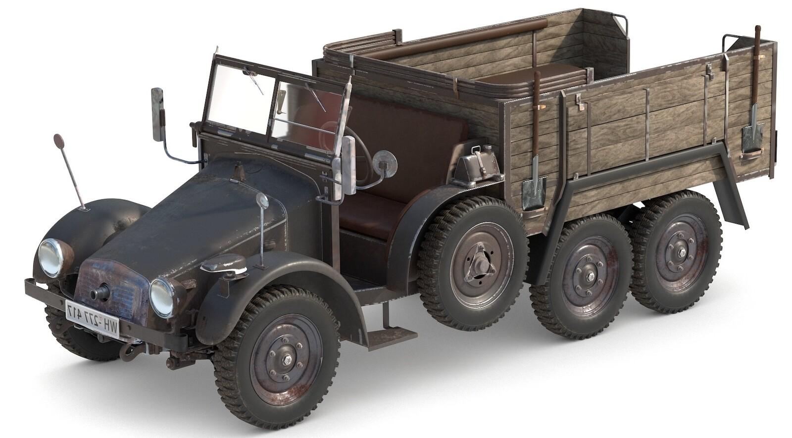 W-W-2 Truck Game Asset