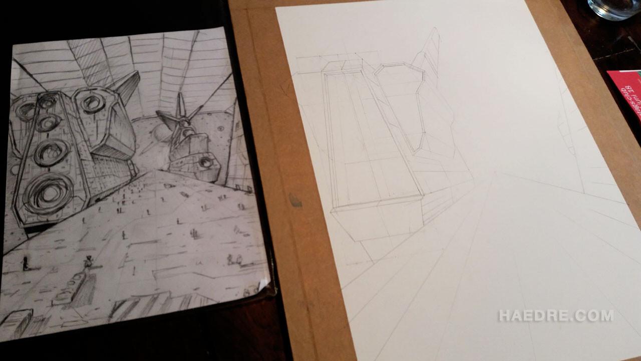 Rough sketch + penciling