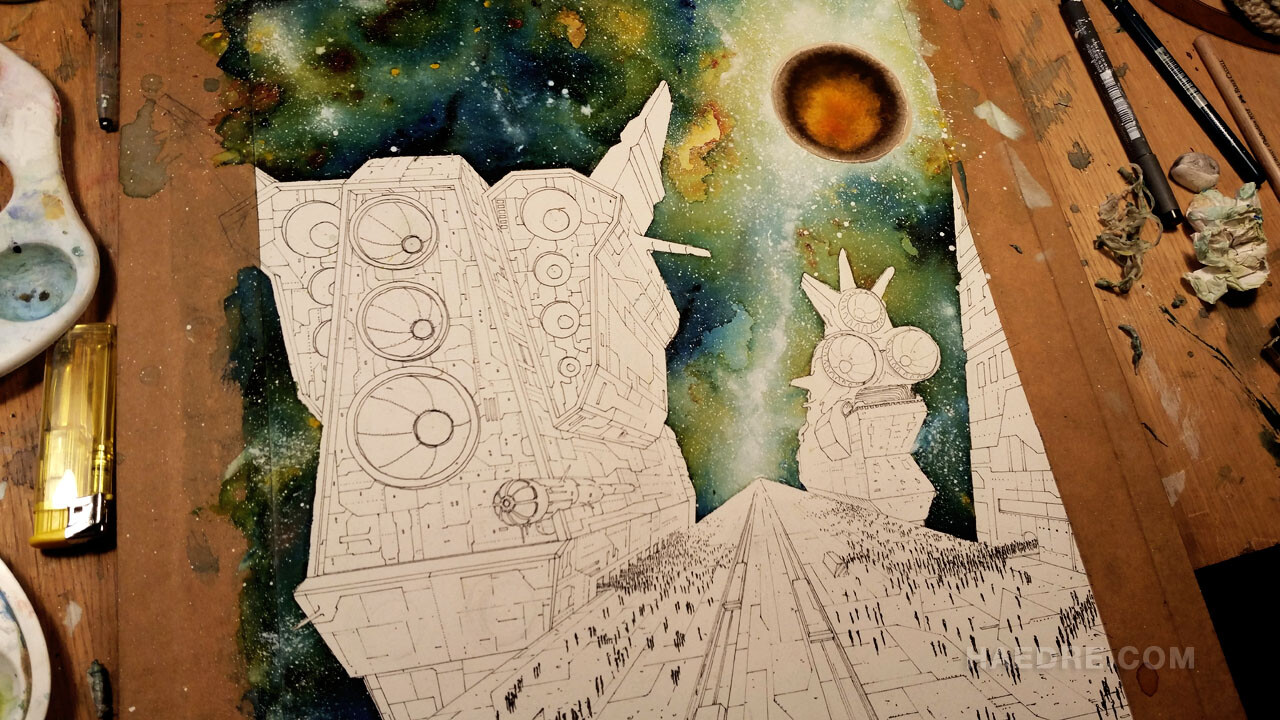 Peeling the masking fluid off. Coloring the cosmos