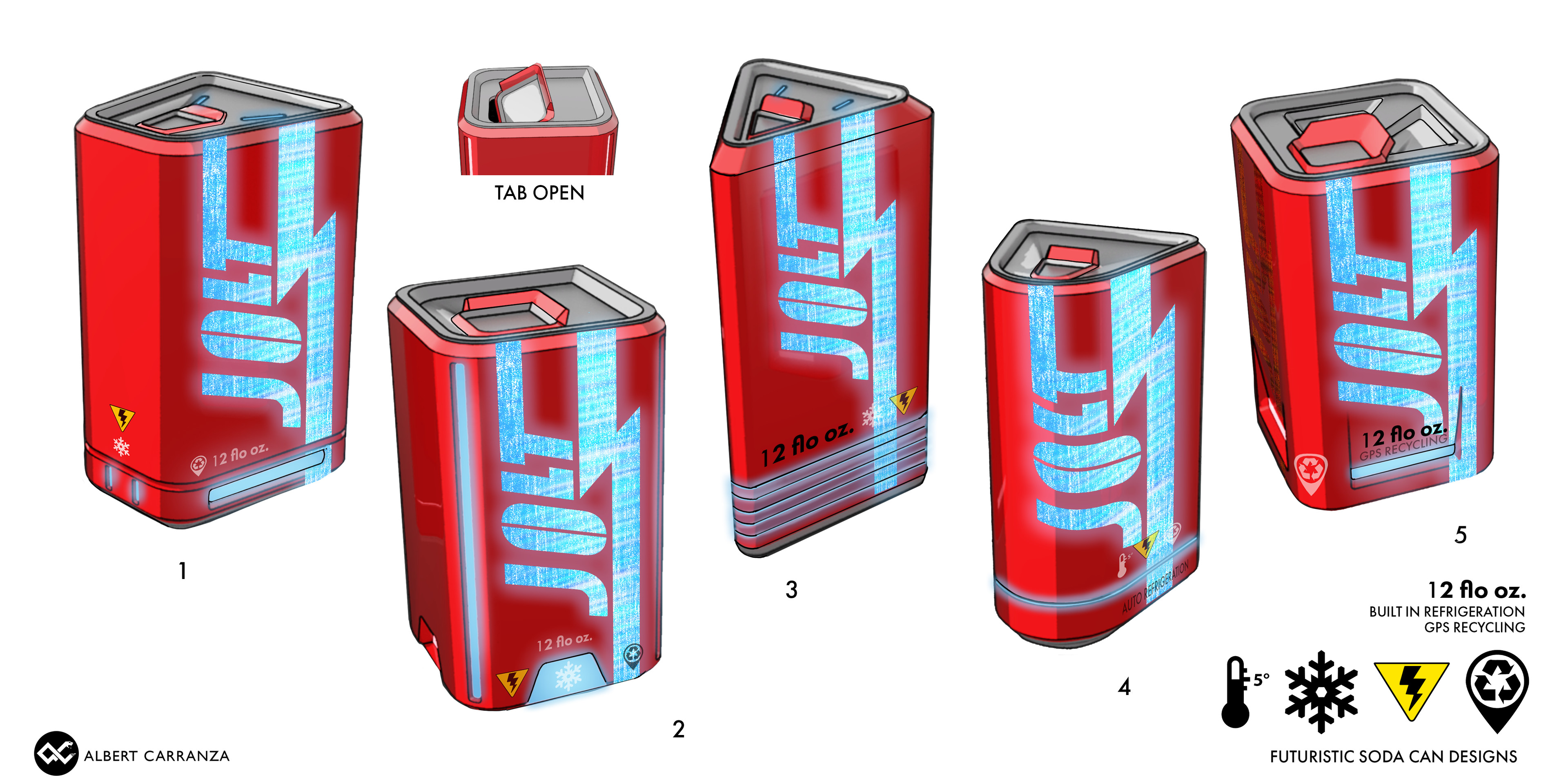 Cyberpunk Soda Can Concept complete with Self Refrigeration and GPS Tracking for recyclobots to collect and reuse.