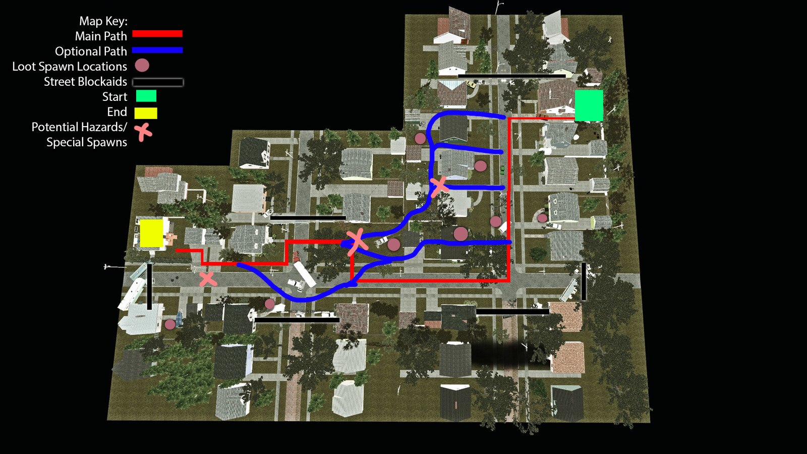 Top down view of the Streets level. Players can follow the red or blue paths and still end up at the safe house. There are markers directing players as they make their way through the level to reinforce player decisions, examples shown below.
