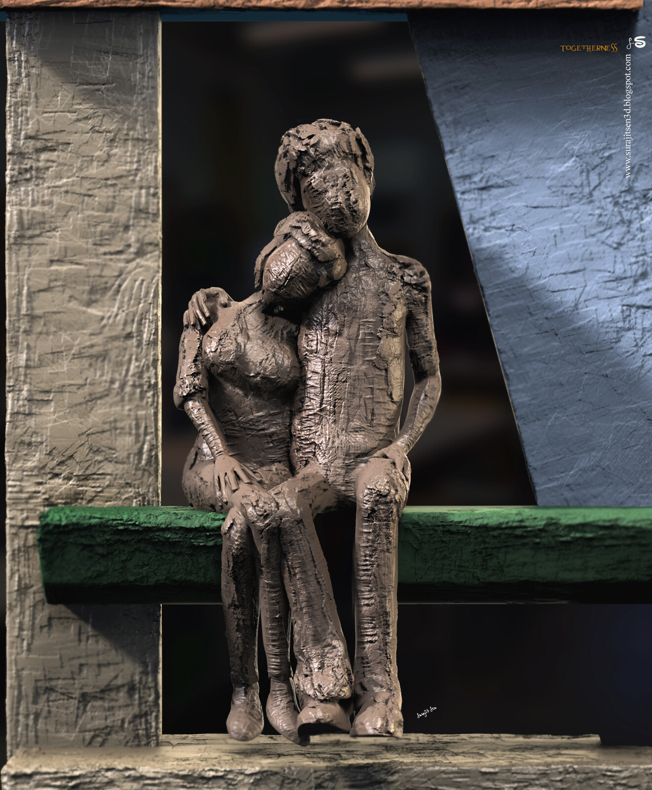 Togetherness. Quick Digital Sculpture. Tried to make a form of my thoughts.
