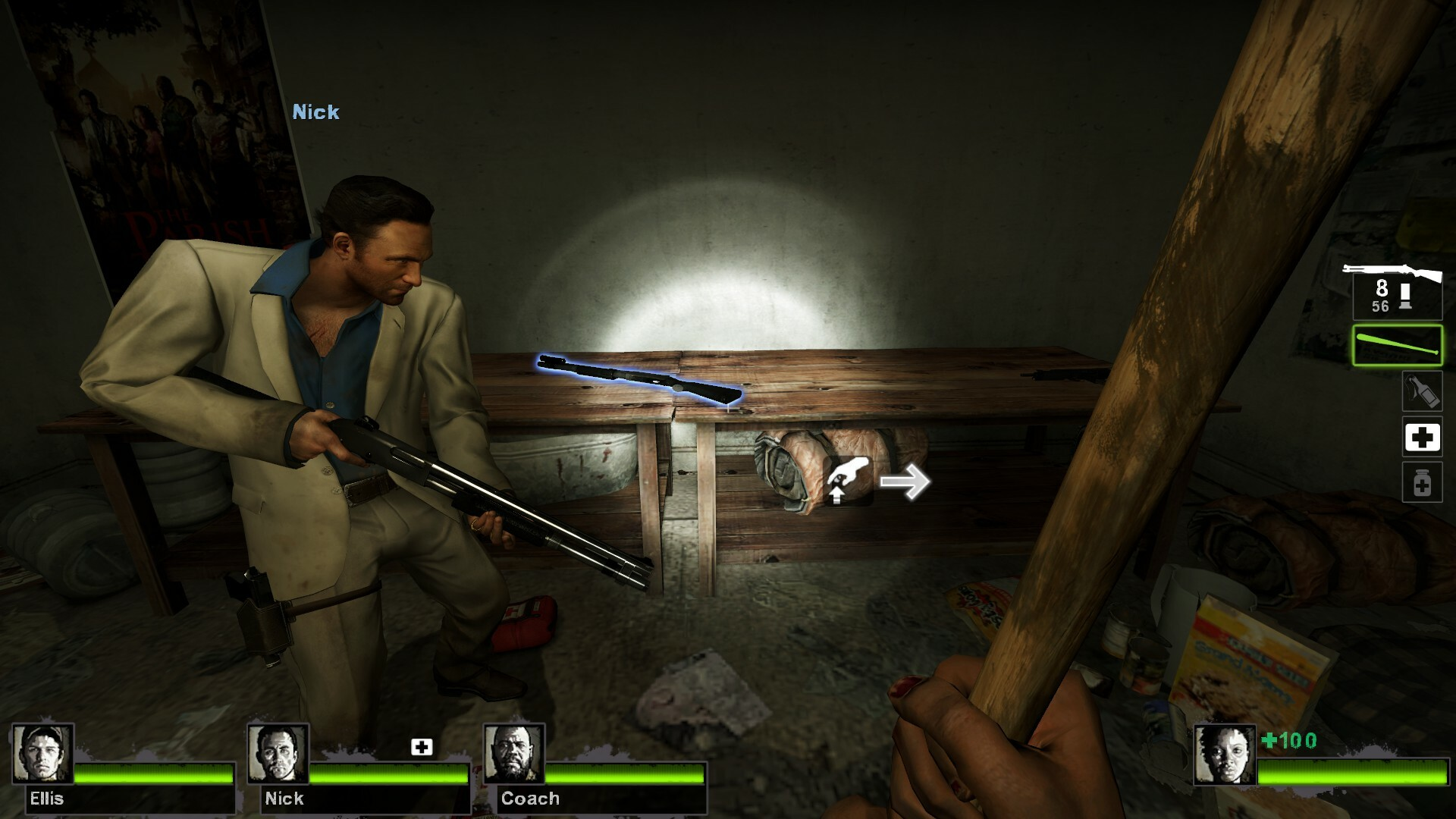 The first safe house has low tier weapons for the player and limited resources.